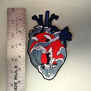 XL Heart of Waves and Water Iron - Sew on Patch